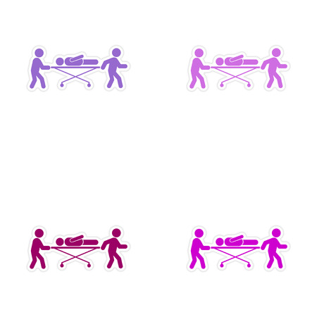 patients: Set of stickers patients are on stretchers white background Illustration