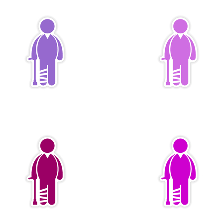 axillary: Set of stickers man with broken leg on white background