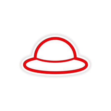 requisite: paper sticker British hat on white background Illustration