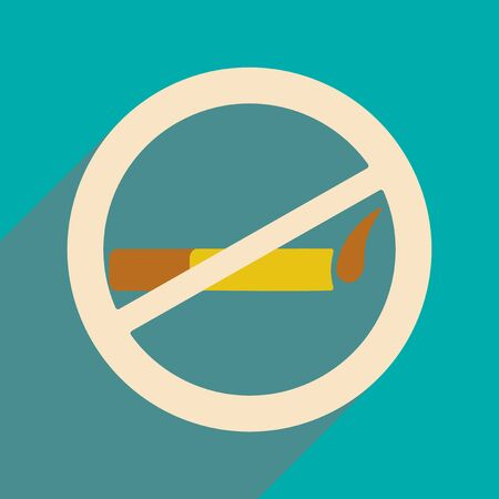 censorship: Flat with shadow icon and mobile application smoking allowed