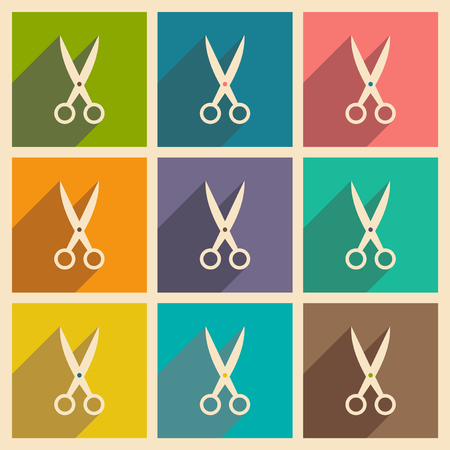 scissors hair: Flat with shadow concept and mobile application scissors