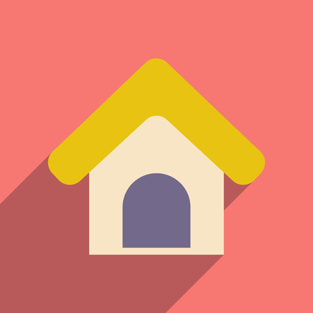 guard house: Flat with shadow icon and mobile application Booths for dogs