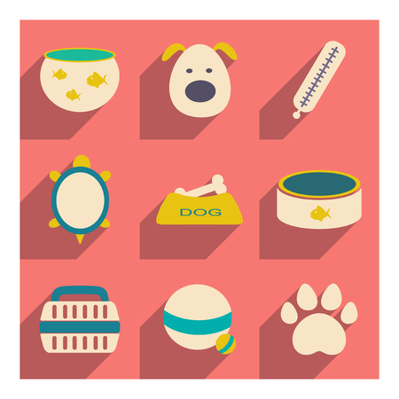 personal grooming: Flat with shadow concept and mobile application veterinary medicine
