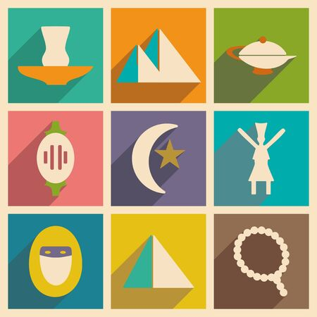 eastern: Flat with shadow concept and mobile application eastern icons Illustration