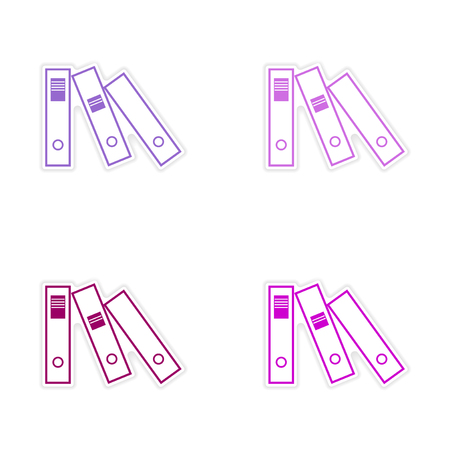 case binder: Stylish assembly sticker on paper folders for documents Illustration