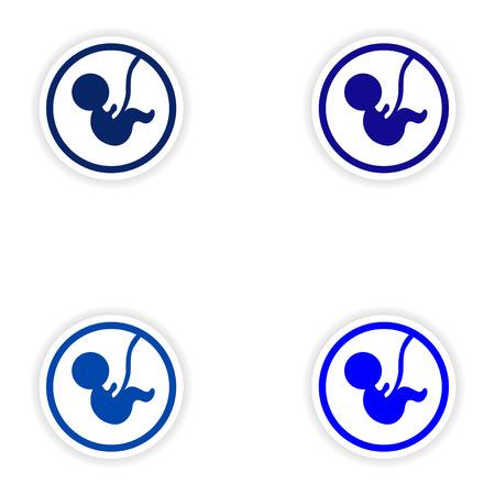 Stel papieren stickers op een witte achtergrond kind in de baarmoeder Stock Illustratie