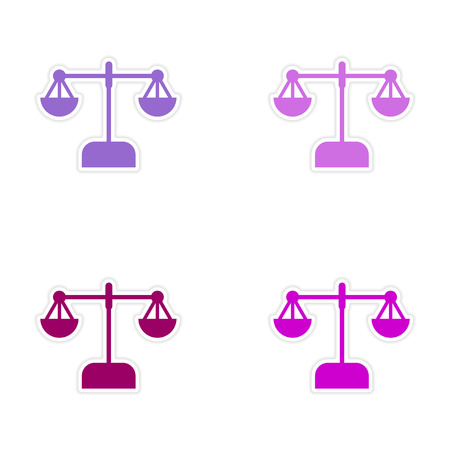 equilibrium: Stylish assembly sticker on paper scales on white background Illustration