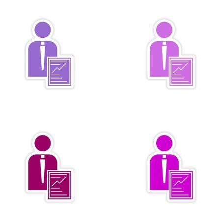 economic: Set of stylish sticker on paper businessman and economic report Illustration