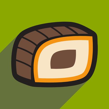nori: Flat with shadow icon Philadelphia roll on a stylish background
