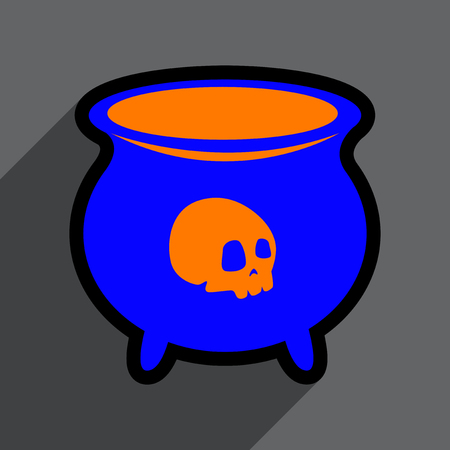 hallowen: Flat with shadow icon cauldron on a bright background