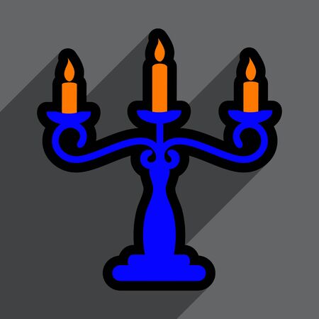 candelabrum: Flat with shadow Icon  candlestick bright background Illustration