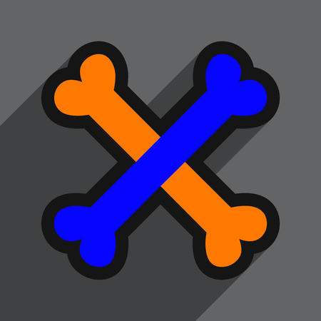 cross bones: Flat with shadow Icon cross bones stacked on colored background Illustration