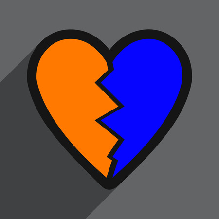jealousy: Flat with shadow Icon Heart broken pieces on colored background Illustration