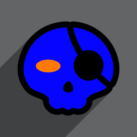 front of the eye: Flat with shadow Icon Pirate skull on a colored background