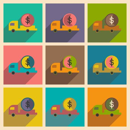 bodywork: Modern collection flat icons with shadow car and money