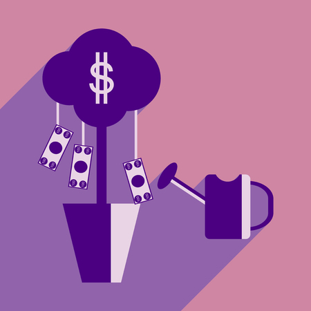 sprinkle: Flat design modern vector illustration icon Money Tree and Sprinkle Illustration
