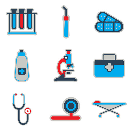 medicament: Icons of medical instruments and medicament in flat style