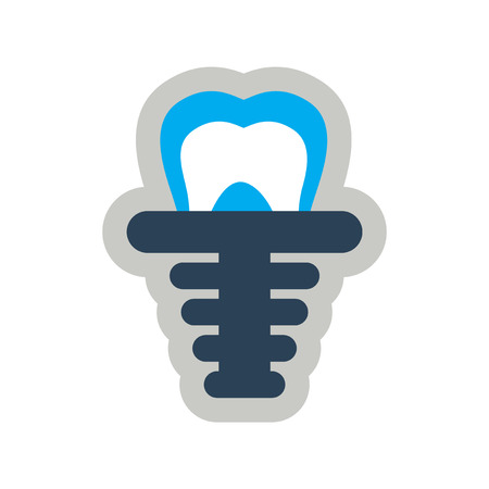 artificial: Icon of artificial tooth in flat style Vectores