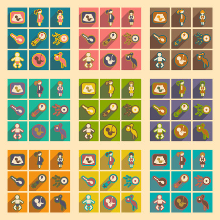 zeugung: Set flat icons with long shadow pregnancy Illustration