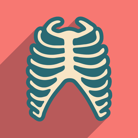 chest pain: flat icon with long shadow human rib Illustration