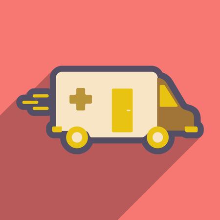 ambulancia: icono plana con una larga sombra coche de la ambulancia