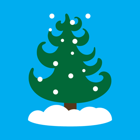 complimentary: flat icon on blue background tree snowflakes
