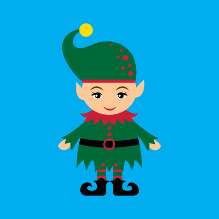 gnome: flat icon on blue background christmas gnome