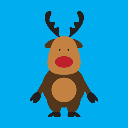 flat icon on blue background Santa's reindeer