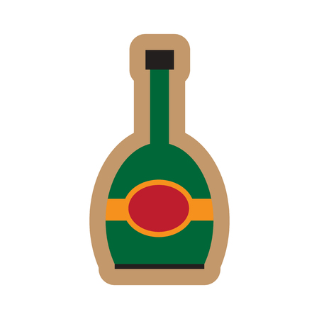 bottle of champagne: flat icon on white background bottle champagne