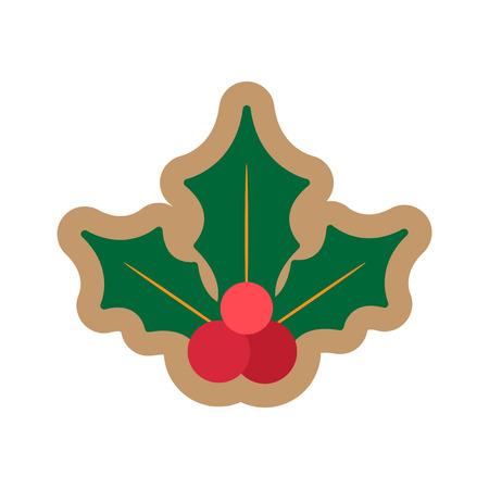 muerdago: icono de plano sobre fondo blanco Navidad mu�rdago