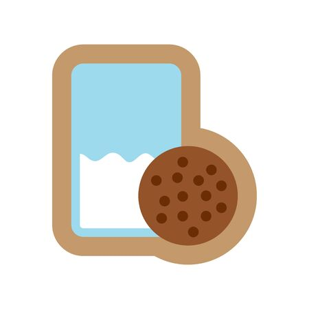 milk and cookies: flat icon on white background glass milk and cookies