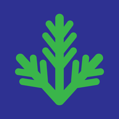 furtree: flat icon on blue background fur-tree branch