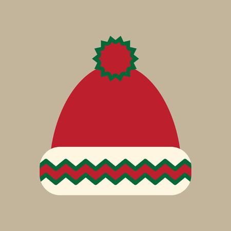winter hat: flat icon on stylish background winter hat