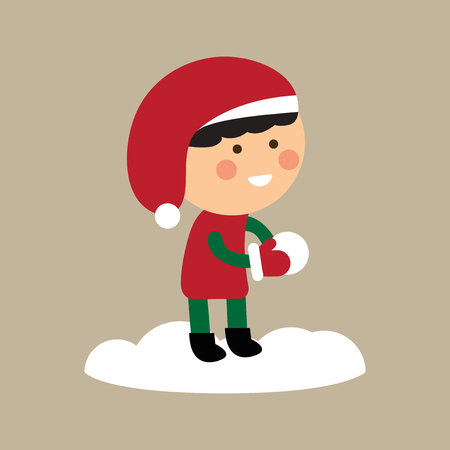 play boy: flat icon on stylish background boy playing snowballs