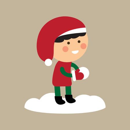 combate: icono de estilo plano sobre fondo bolas de nieve muchacho que juega