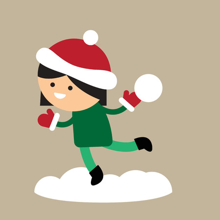 palle di neve: flat icon on stylish background girl playing snowballs