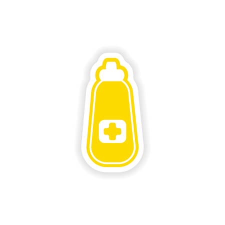 cough syrup: paper sticker on white background medicament in bottle Illustration
