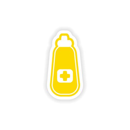 phial: paper sticker on white background medicament in bottle Illustration