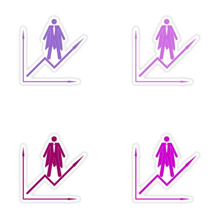 depletion: Set of stylish sticker on paper man economic schedule Illustration