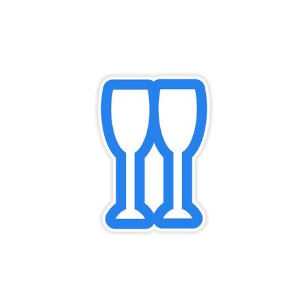 uncork: paper sticker on white background New glasses Illustration