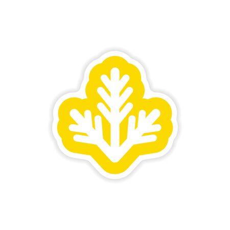 furtree: paper sticker on white background fur-tree branch