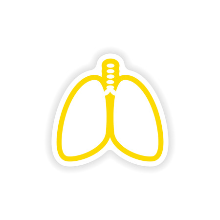 klatki piersiowej: paper sticker on white background human lungs Ilustracja