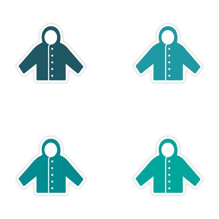 raincoat: assembly realistic sticker design on paper raincoat