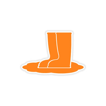 wellies: icon sticker realistic design on paper rubber boots