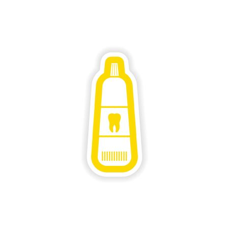 tooth paste: paper sticker on white background Tooth paste Illustration