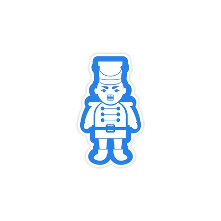 nutcracker: paper sticker on white background Christmas Nutcracker