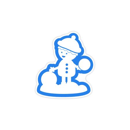 palle di neve: carta adesivo su sfondo bianco palle di neve ragazzo di gioco