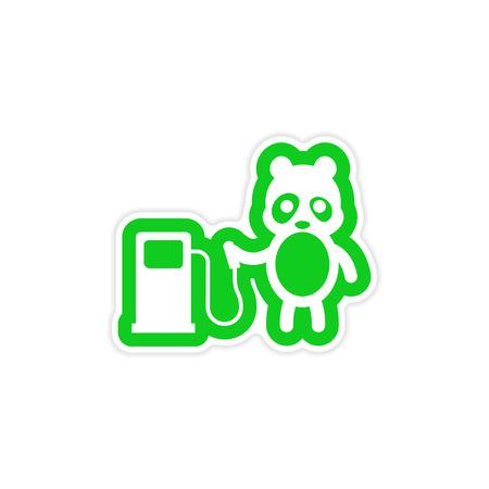 petrol pump: stylish paper sticker on white background panda petrol pump