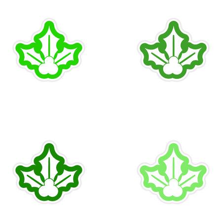 sprig: Set of paper stickers on white background sprig mistletoe Illustration