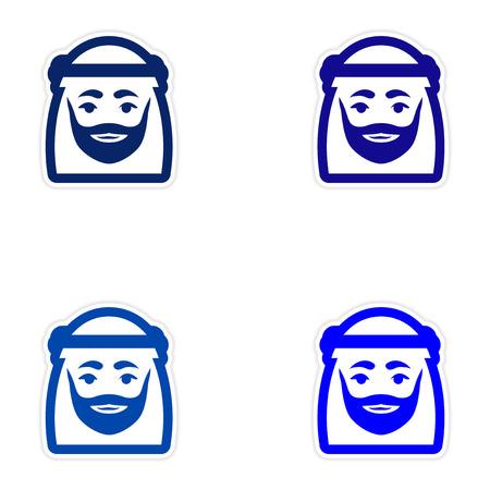 gulf: Set of paper stickers on white background Arab men Illustration